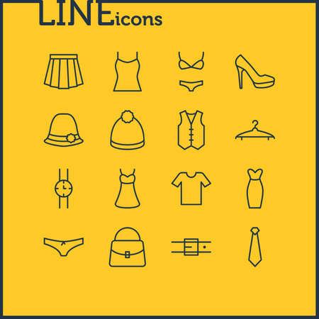 Vector Illustration Of 16 Dress Icons. Editable Pack Of Evening Dress, Casual, Panties And Other Elements.