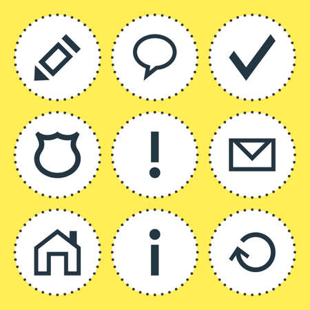 interjection: Vector Illustration Of 9 User Icons. Editable Pack Of Talk Bubble, Letter, Info And Other Elements.