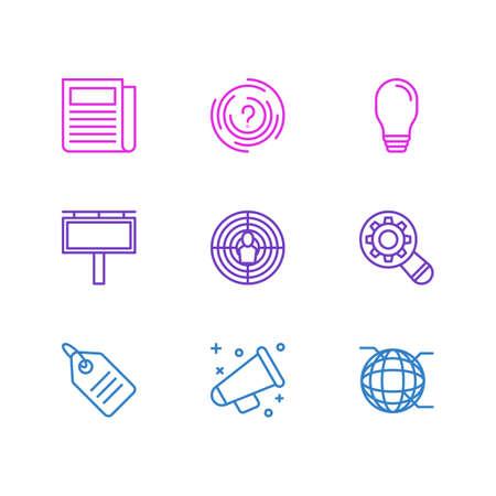 Vektor-Illustration von 9 Werbungs-Ikonen. Editierbare Packung Rabatt Label, mit dem Ziel, Labyrinth und andere Elemente. Standard-Bild - 81585656