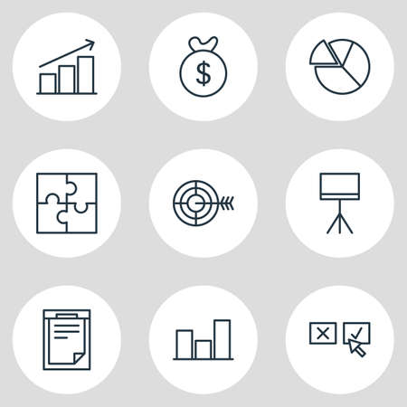Vector Illustration Of 9 Trade Icons. Editable Pack Of Bag , Goal , Board Stand Elements. Illustration