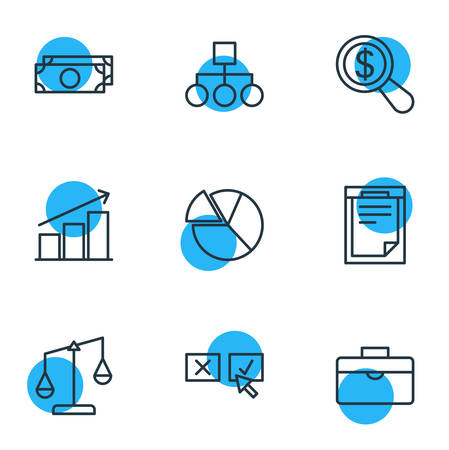 punish: Vector Illustration Of 9 Trade Icons. Editable Pack Of File, Magnifier, Balance And Other Elements.