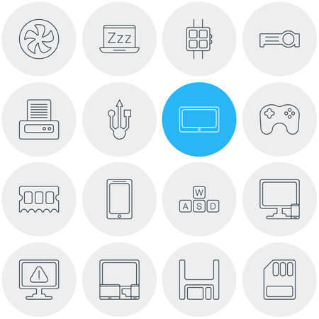 gigabyte: Vector Illustration Of 16 Notebook Icons. Editable Pack Of Storage, Modern Watch, Diskette And Other Elements. Illustration