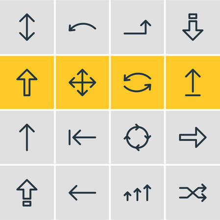 Vector Illustration Of 16 Direction Icons. Editable Pack Of Update, Randomize, Left Elements.