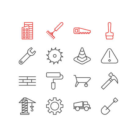 heavy construction: Vector Illustration Of 16 Industry Icons. Editable Pack Of Harrow, Barrier, Spanner And Other Elements. Illustration
