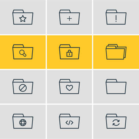 Vector Illustration Of 12 Folder Icons. Editable Pack Of Liked, Script, Important And Other Elements.
