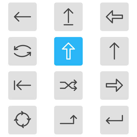 Vector Illustration Of 12 Arrows Icons. Editable Pack Of Update, Submit, Tab And Other Elements.