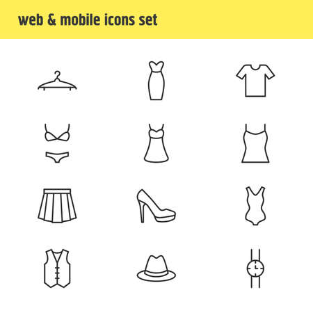 petticoat: Vector Illustration Of 12 Clothes Icons. Editable Pack Of Evening Dress, Swimsuit, Hand Clock Elements.