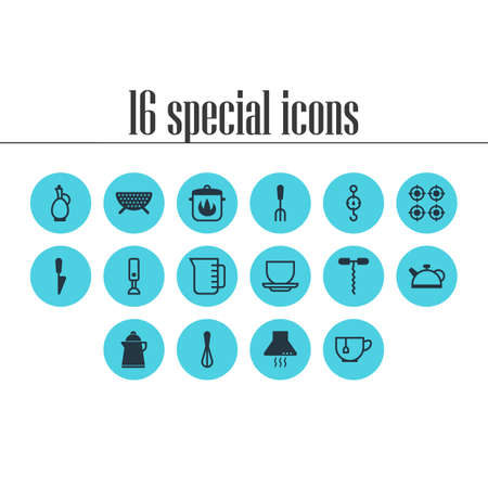 Vector Illustration Of 16 Kitchenware Icons. Editable Pack Of Mug, Stewpot, Steelyard And Other Elements.