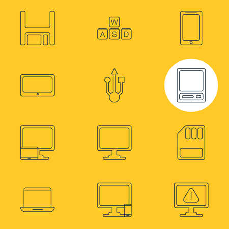 minicomputer: Vector Illustration Of 12 Notebook Icons. Editable Pack Of Keyboard, Storage, Pda And Other Elements. Illustration