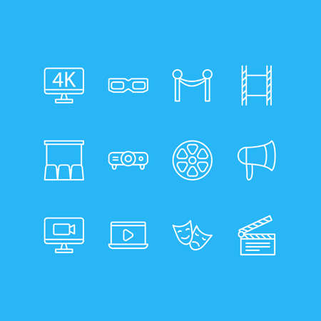 Vector Illustration Of 12 Movie Icons. Editable Pack Of Slideshow, Megaphone, Tragedy And Other Elements.