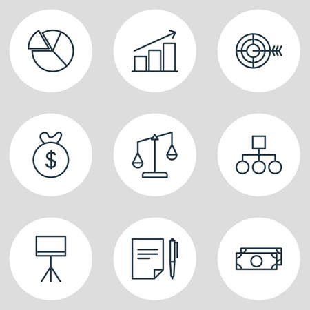 punish: Vector Illustration Of 9 Business Icons. Editable Pack Of Scheme, Goal, Bag And Other Elements. Illustration