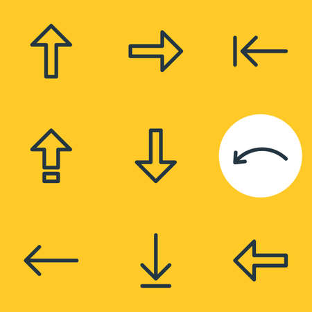 Vector Illustration Of 9 Sign Icons. Editable Pack Of Loading, Direction, Up And Other Elements.
