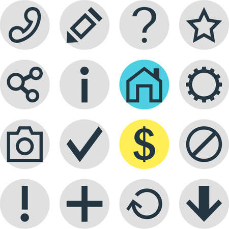 Vector Illustration Of 16 Interface Icons. Editable Pack Of Money Making, Publish, Asterisk And Other Elements. Illustration