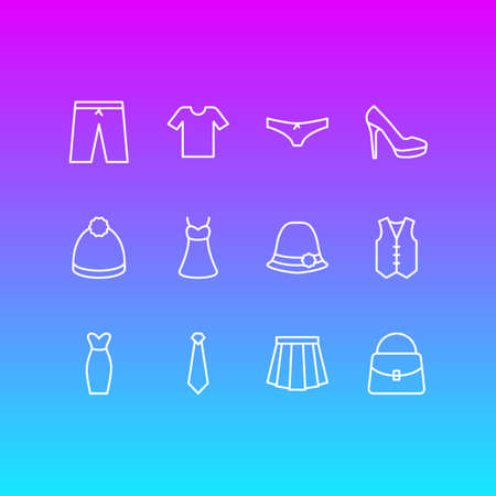 A Vector Illustration Of 12 Garment Icons. Editable Pack Of Evening Dress, Pompom, Sandal Elements. Illustration