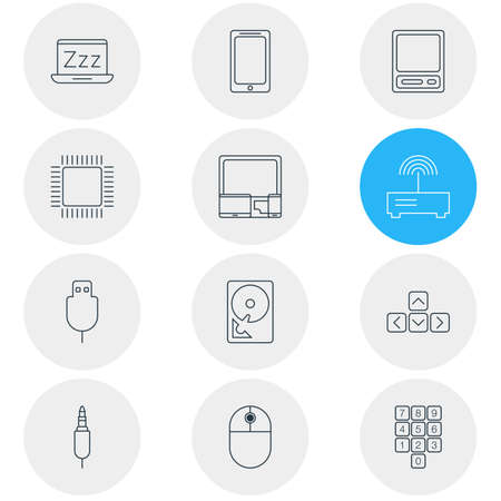 Vector Illustration Of 12 Computer Icons. Editable Pack Of Gadgets, Router, Laptop And Other Elements.