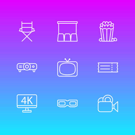 Vector Illustration Of 9 Cinema Icons. Editable Pack Of Camera, Resolution, Tv And Other Elements.