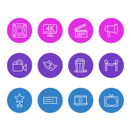 Vector Illustration Of 12 Cinema Icons. Editable Pack Of Tv, Loudspeaker, Coupon And Other Elements.