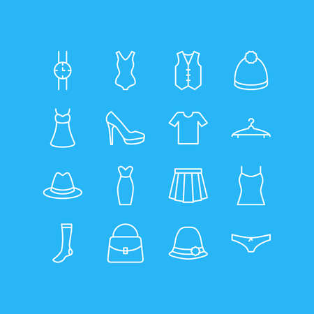 Vector Illustration Of 16 Garment Icons. Editable Pack Of Waistcoat, Apparel, Evening Dress And Other Elements. 向量圖像