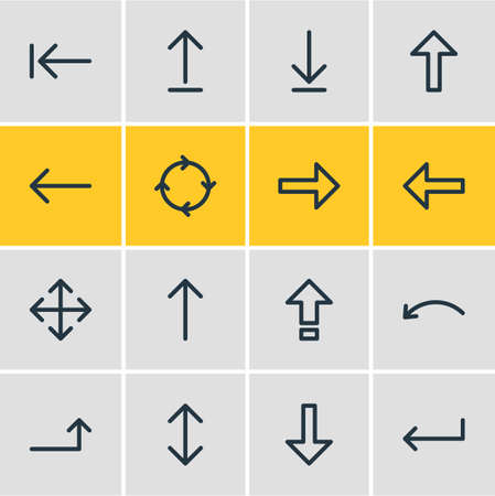 Vector Illustration Of 16 Direction Icons. Editable Pack Of Submit, Upwards, Exchange And Other Elements.