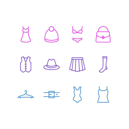 petticoat: Vector Illustration Of 12 Garment Icons. Editable Pack Of Cloakroom, Singlet, Swimsuit And Other Elements.