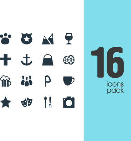 Vector Illustration Of 16 Location Icons. Editable Pack Of Landscape, Cross, Car Park Elements.