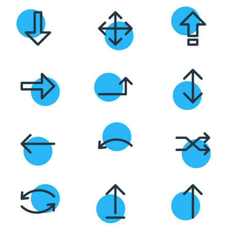 Vector Illustration Of 12 Direction Icons. Editable Pack Of Widen, Upwards, Raise And Other Elements.