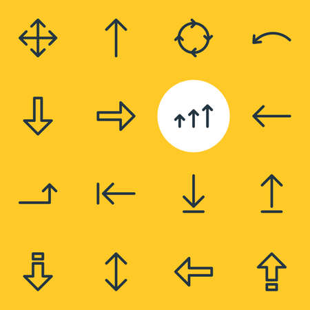 Vector Illustration Of 16 Arrows Icons. Editable Pack Of Increase, Down, Direction And Other Elements. Illustration