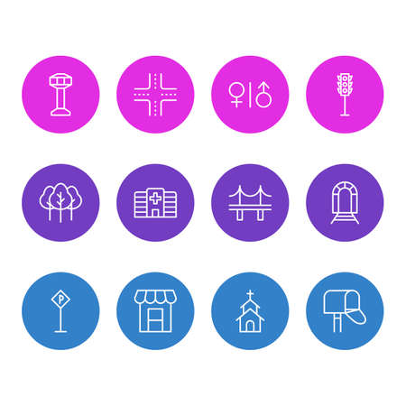 Vector Illustration Of 12 Urban Icons. Editable Pack Of Building, Mail Box, Intersection And Other Elements.