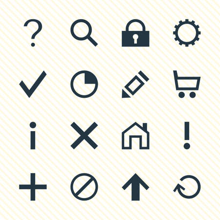 Vector Illustration Of 16 Interface Icons. Editable Pack Of Stopwatch, Plus, Access Denied And Other Elements.