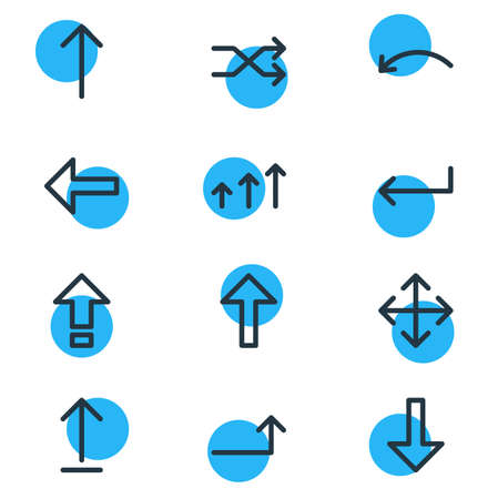 Vector Illustration Of 12 Sign Icons. Editable Pack Of Turn, Widen, Raise And Other Elements. Illustration