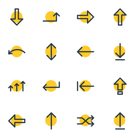 Vector Illustration Of 16 Sign Icons. Editable Pack Of Up , Randomize, Upwards Elements.