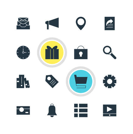 todo: Vector Illustration Of 16 Online Icons. Editable Pack Of Bullhorn, List, Gift And Other Elements. Illustration