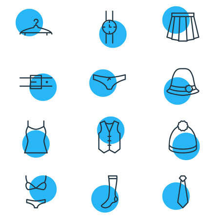 swimming cap: Vector Illustration Of 12 Garment Icons. Editable Pack Of Panama, Pompom, Waistcoat And Other Elements.