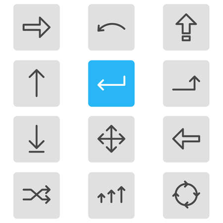 resize: Vector Illustration Of 12 Direction Icons. Editable Pack Of Undo, Direction, Turn And Other Elements.