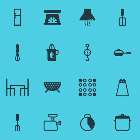 Vector Illustration Of 16 Restaurant Icons. Editable Pack Of Mincer, Refrigerator, Steelyard And Other Elements.