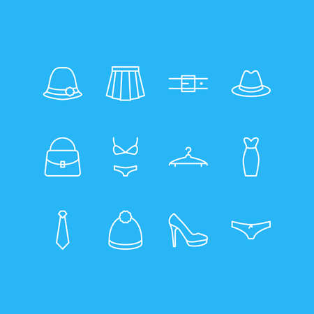 Vector Illustration Of 12 Clothes Icons. Editable Pack Of Swimsuit, Strap, Apparel And Other Elements.