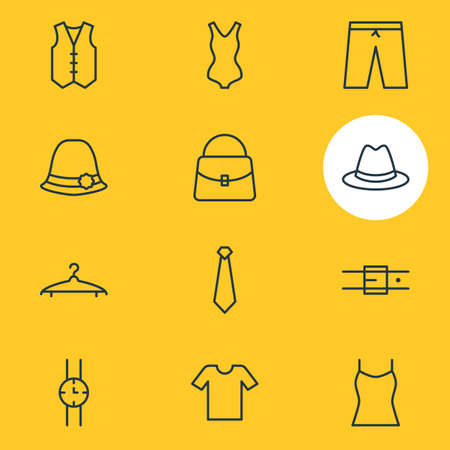 suspender: Vector Illustration Of 12 Clothes Icons. Editable Pack Of Swimming Trunks, Fedora, Casual And Other Elements. Illustration