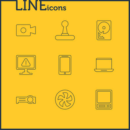 minicomputer: Vector Illustration Of 9 Laptop Icons. Editable Pack Of Pda, Hard Drive Disk, Presentation And Other Elements.