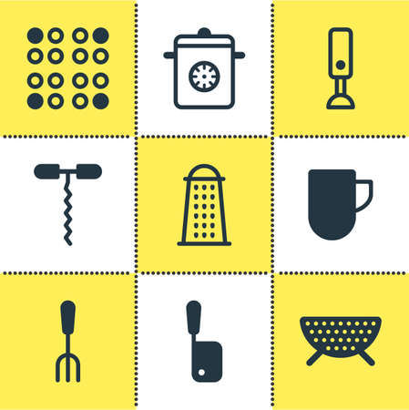 housewares: Vector Illustration Of 9 Cooking Icons. Editable Pack Of Mixer, Sieve, Wine Opener And Other Elements.