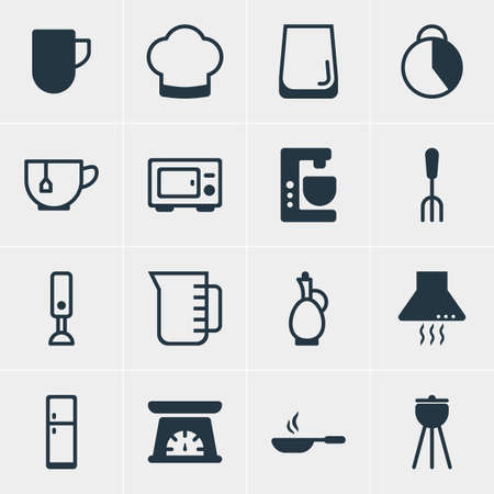 extractor: Vector Illustration Of 16 Kitchenware Icons. Editable Pack Of Carafe, Mug, Extractor Appliance And Other Elements. Illustration