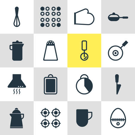browning: Vector Illustration Of 16 Kitchenware Icons. Editable Pack Of Oven Mitts, Breakfast, Round Slicer And Other Elements.