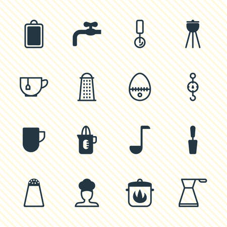 Vector Illustration Of 16 Cooking Icons. Editable Pack Of Shaker, Mug, Steelyard And Other Elements. Illustration