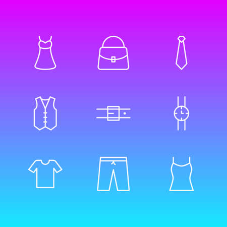Vector Illustration Of 9 Clothes Icons. Editable Pack Of Hand Clock, Waistcoat, Handbag Elements.