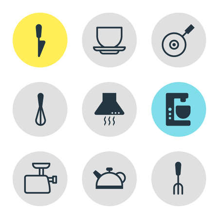 coking: Vector Illustration Of 9 Kitchenware Icons. Editable Pack Of Fork, Kitchen Dagger, Extractor Appliance And Other Elements.
