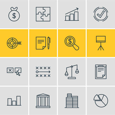 punish: Vector Illustration Of 16 Business Icons. Editable Pack Of Riddle, House , Board Stand Elements. Illustration