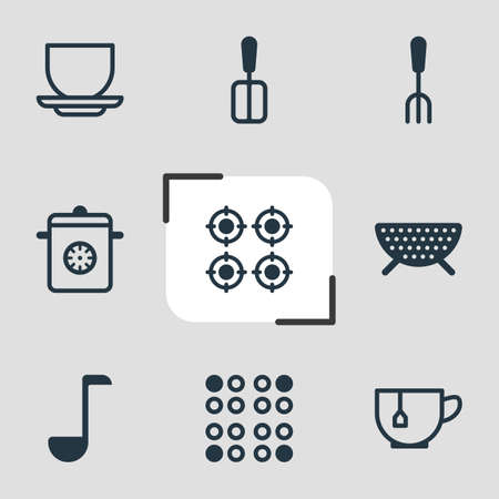 percolate: Vector Illustration Of 9 Cooking Icons. Editable Pack Of Sieve, Steamer, Soup Spoon And Other Elements.