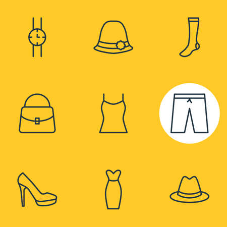 Vector Illustration Of 9 Garment Icons. Editable Pack Of Singlet, Swimming Trunks, Fedora And Other Elements.