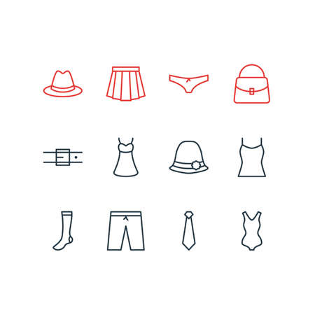 Vector Illustration Of 12 Clothes Icons. Editable Pack Of Singlet, Panties, Fedora And Other Elements. 向量圖像