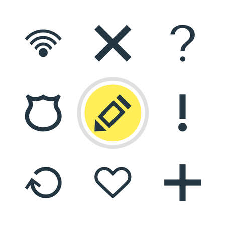 interjection: Vector Illustration Of 9 Interface Icons. Editable Pack Of Shield, Alert, Wrong And Other Elements.
