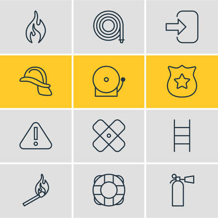 fireman: Vector Illustration Of 12 Extra Icons. Editable Pack Of Lifesaver, Safety, Fire And Other Elements.